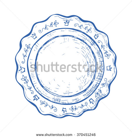 Vintage Plate Hand Drawn Object Ink Stock Vector 370451246.