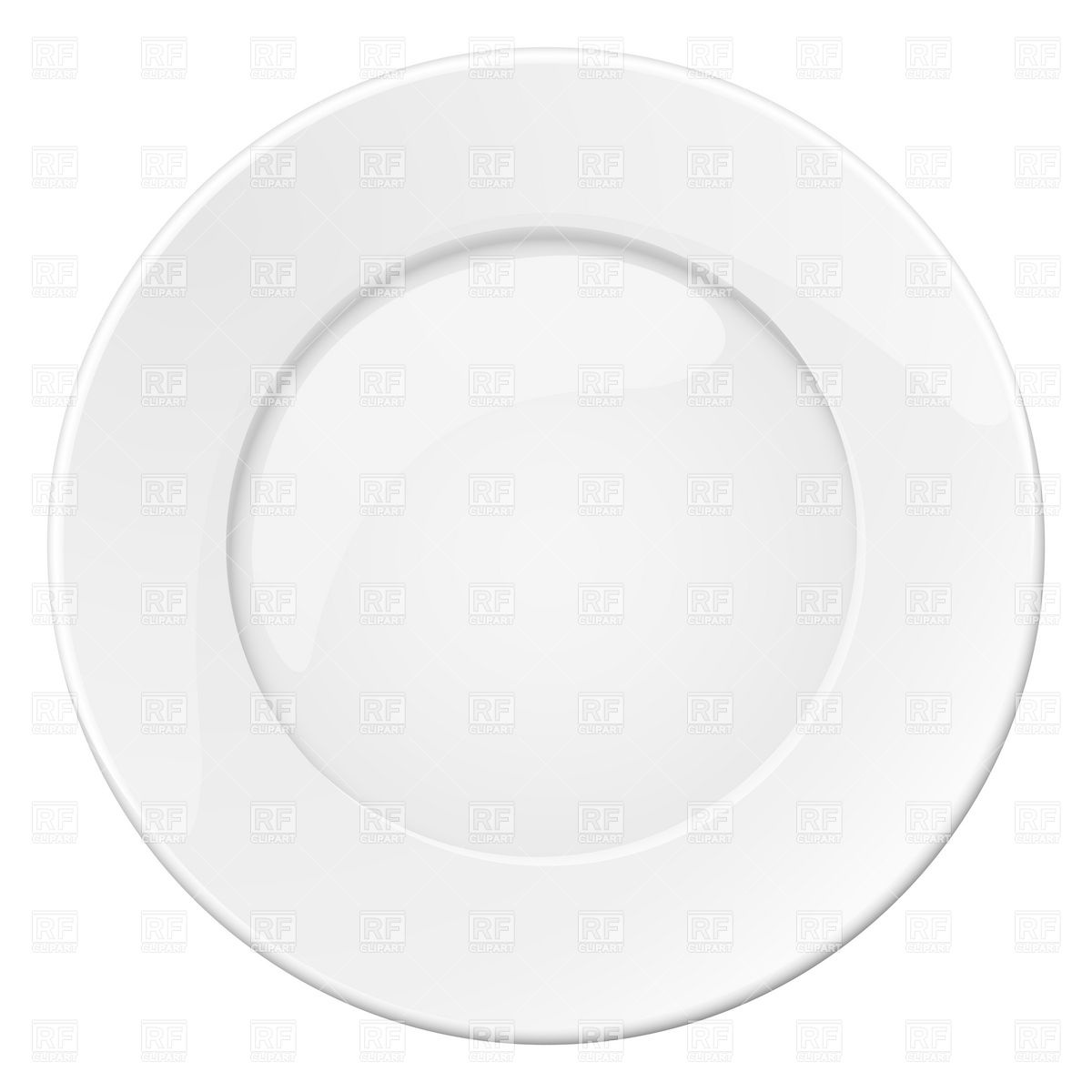 Empty white plate Vector Image #7084.