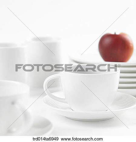 Stock Photograph of object, coffee cup, plate, mug, food, fruit.
