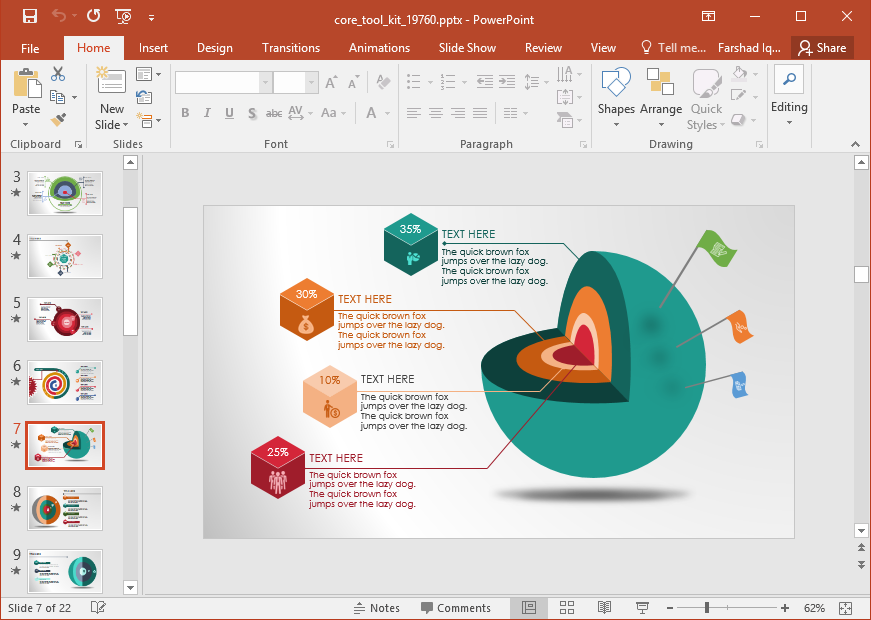 Animated Core Diagrams PowerPoint Template.