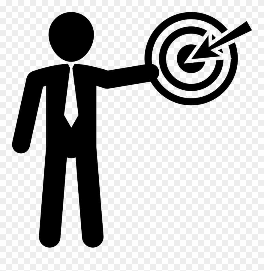 Businessman Presenting A Discussion With Circular Target.