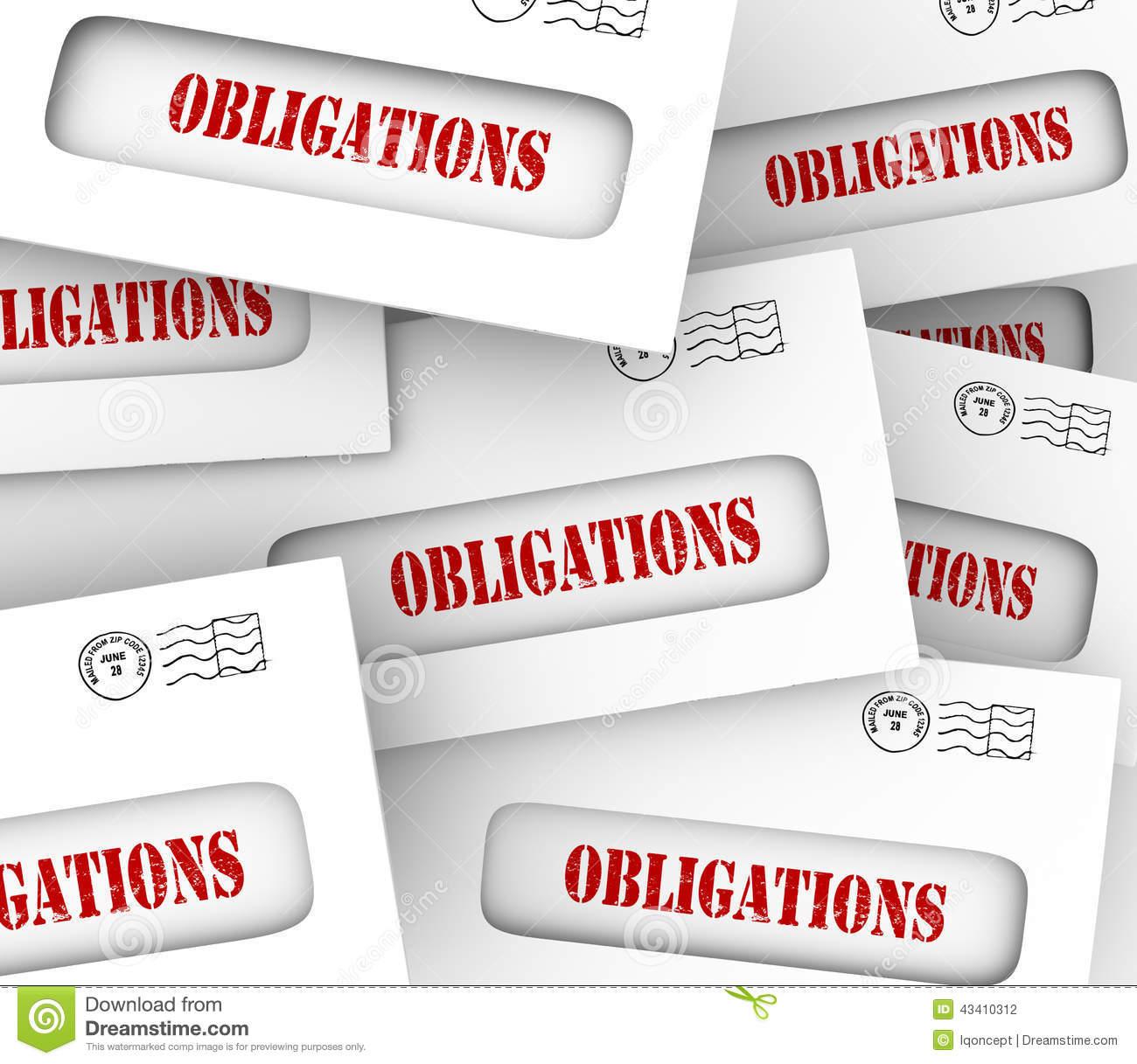 Many Obligations Envelopes Bills Legal Financial Payments Due.