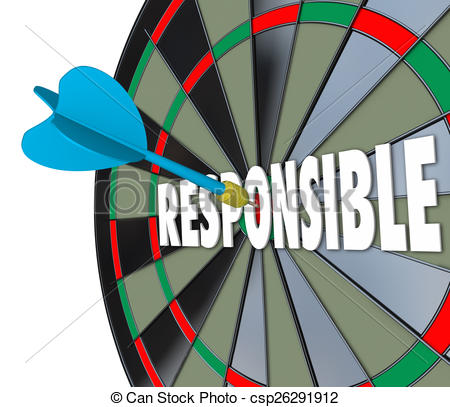 Clipart of Responsible Word Dart Board Accountable Reliable Meet.