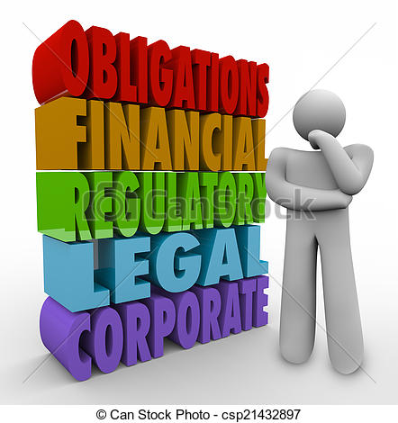 Stock Photographs of Obligations Thinker 3D Words Financial.