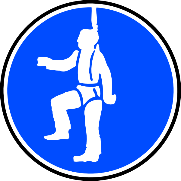 Obligatory Protection Against Fall Blue Sign Sticker clip art Free.
