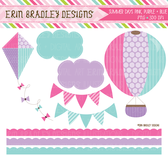 """Erin Bradley Designs: New Colors for """"Summer Days"""" Clipart."""