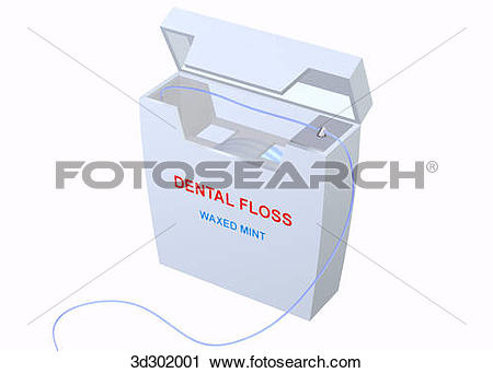 Clipart of Oblique 3/4 view of dental floss container. 3d302001.