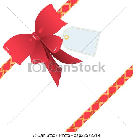 Vector Clip Art of Oblique Red Ribbon and Bow for Gift Wrapping.