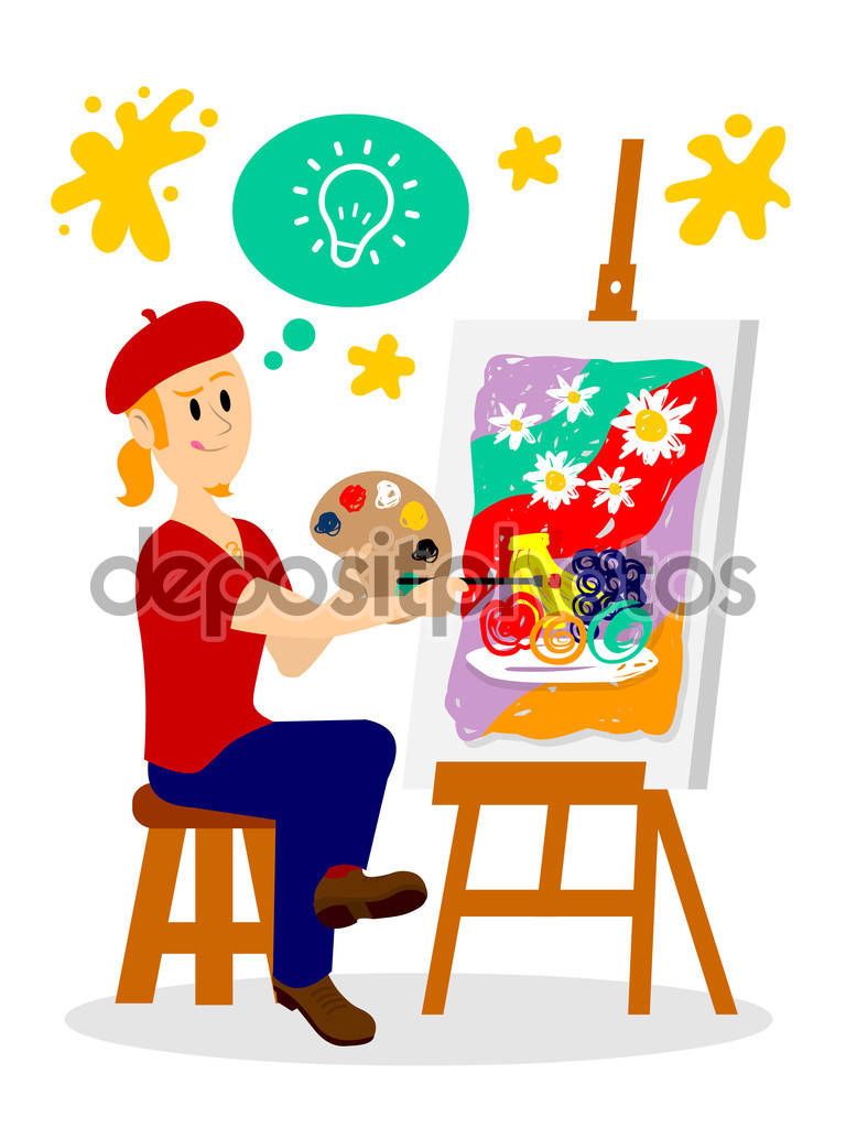 Artista pintando su obra maestra Clipart — Vector de stock.