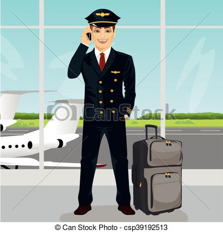 Vector Clip Art of Young pilot talking on phone with luggage in.