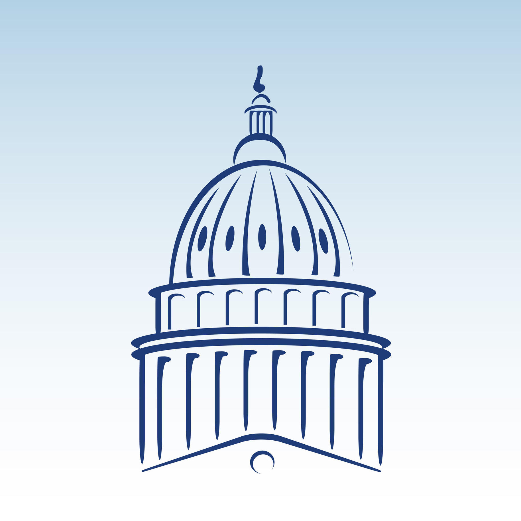 US Capitol Dome Vector Illustration The Observation Deck Clipart.