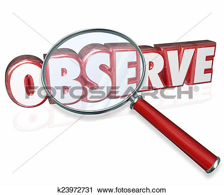 Clipart of Observe 3d Word Magnifying Glass Examine Inspect Pay.