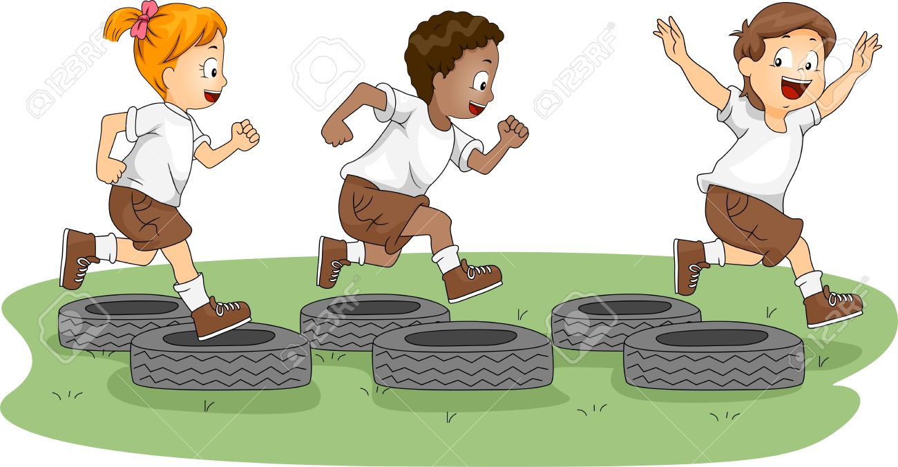 Illustration Of Kids In An Obstacle Course Stock Photo, Picture.