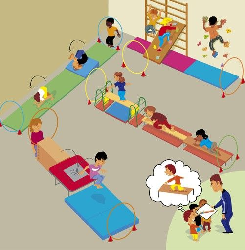 Indoor Toddler Obstacle Course Clipart.