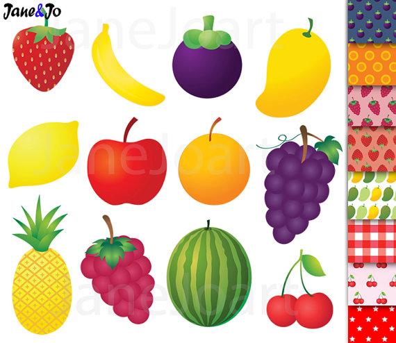 ClipArts Obst Obst ClipArt Ananas Banane orange Mango von JaneJoArt.