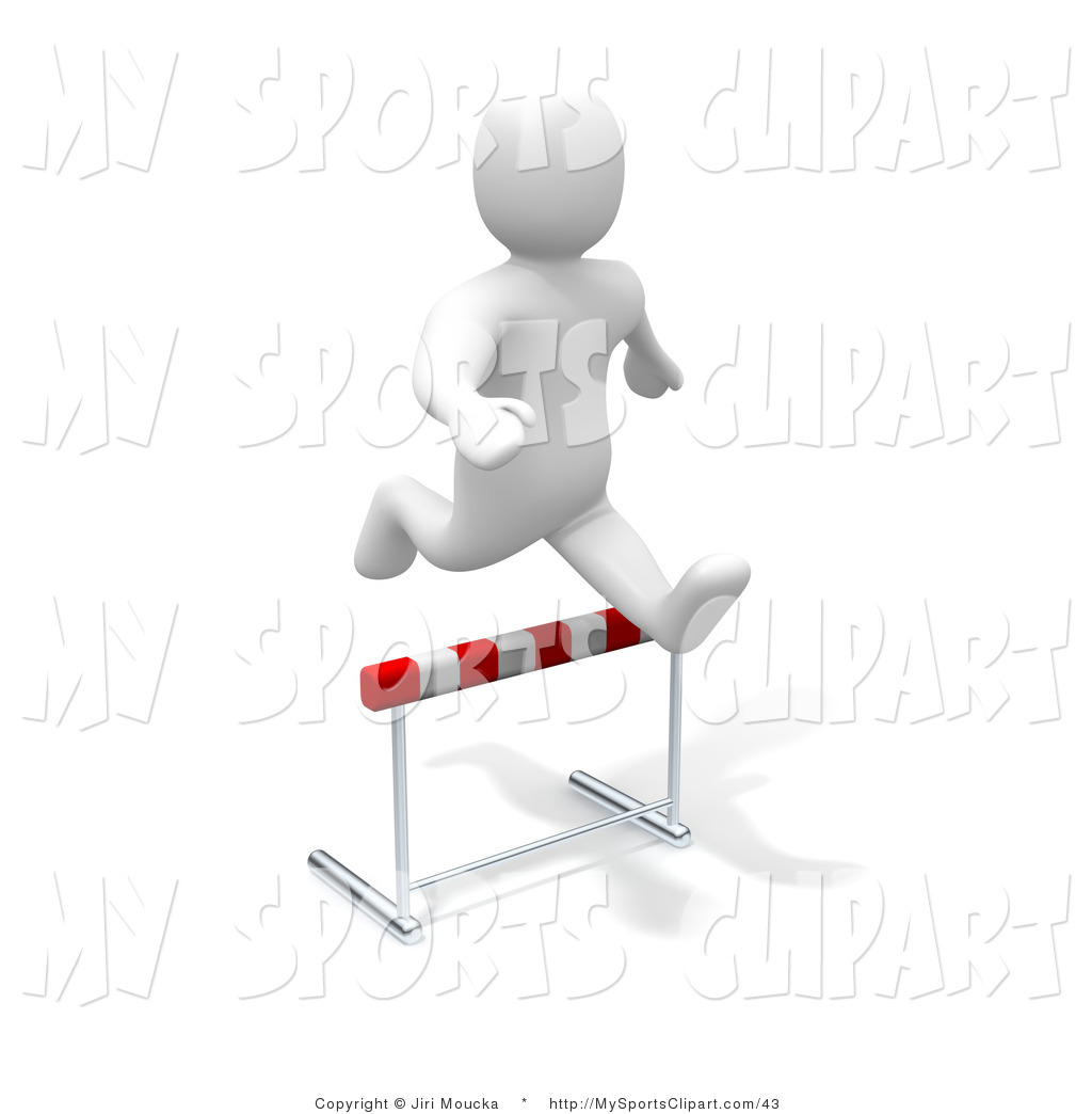 Sports Clip Art of a 3d Blanco Man Character Hopping over a Hurdle.