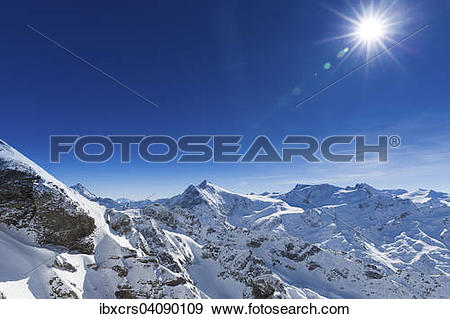 Stock Photograph of View from the Swiss mountain Titlis, Engelberg.