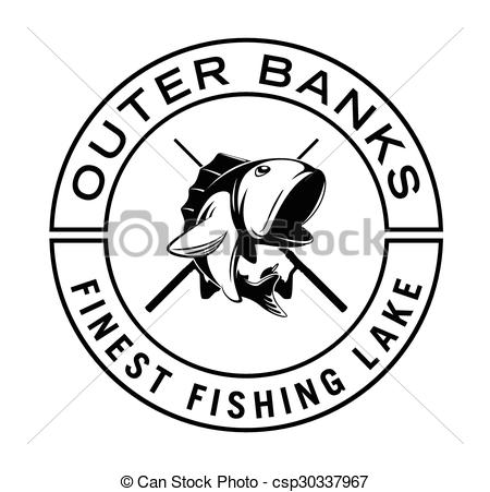 Clip Art Vector of outer banks fishing badge csp30337967.