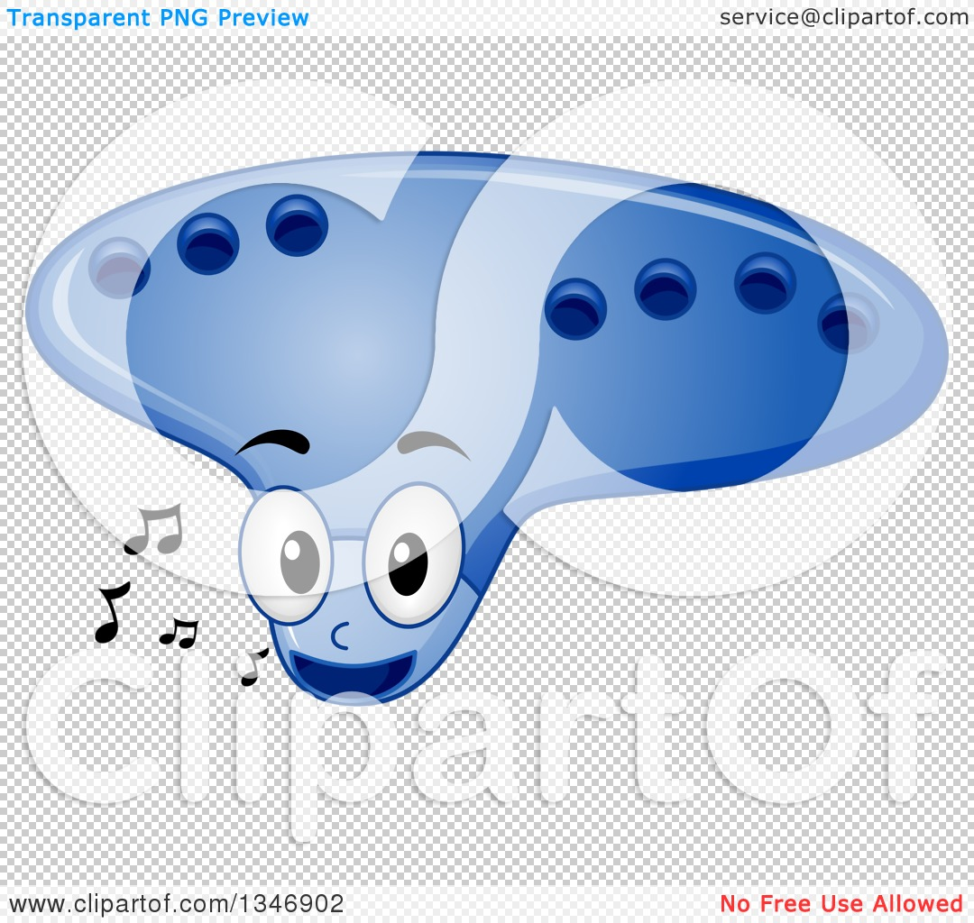 Clipart of a Cartoon Ocarina Mascot with Music Notes.