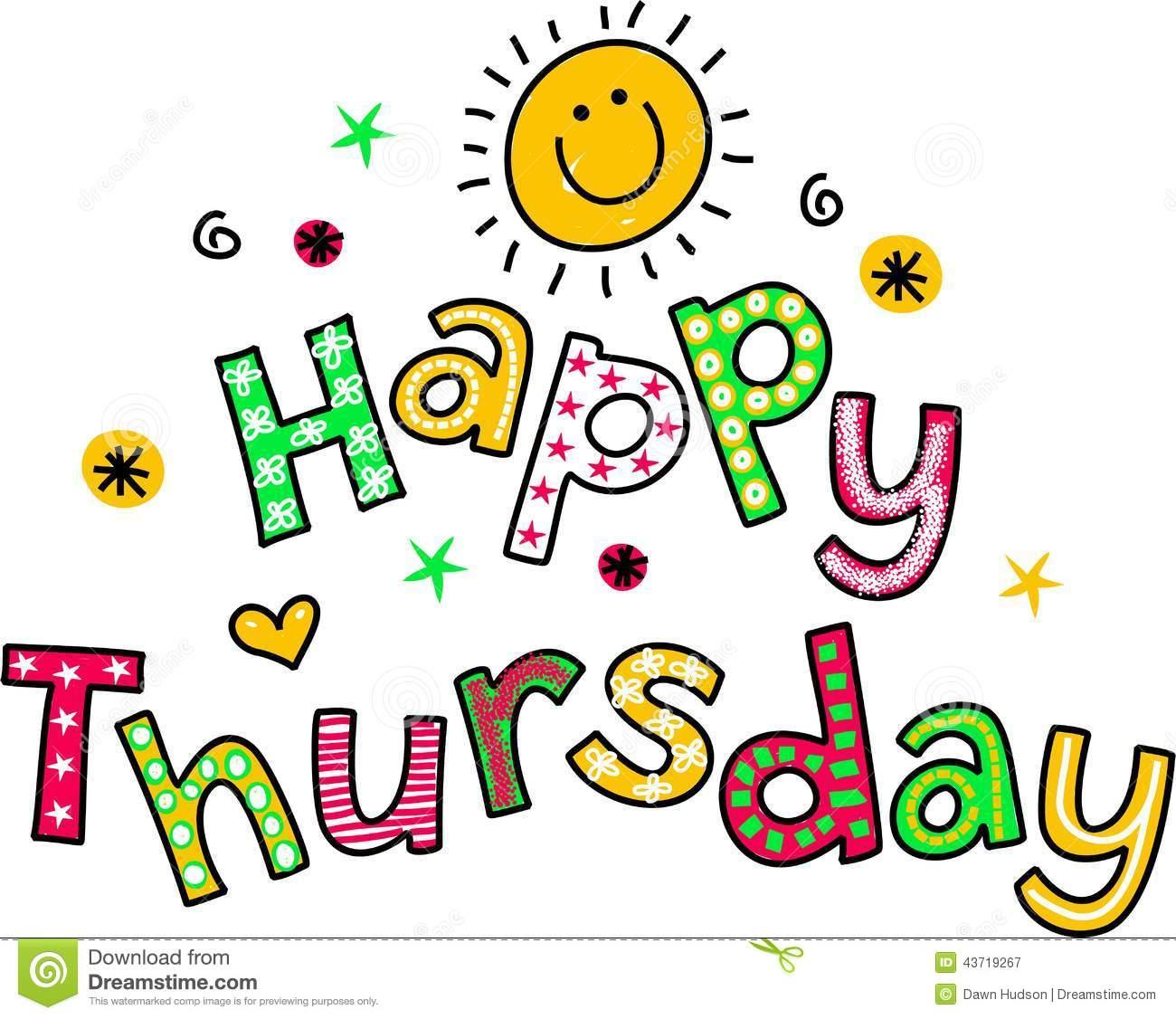 Happy Thursday Cartoon Text Clipart Stock Illustration.