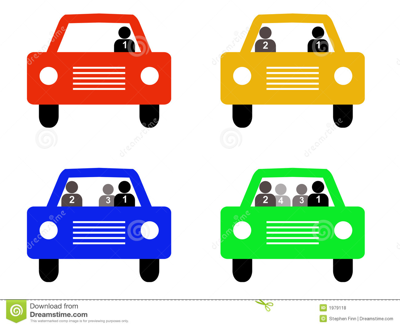 High Occupancy Vehicle Silhouettes Royalty Free Stock Photos.