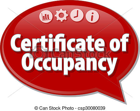 Drawings of Certificate of Occupancy Business term speech bubble.