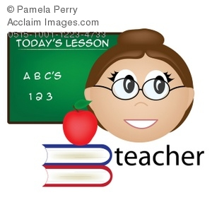 Clip Art Illustration of a Female Teacher Occupation Icon.