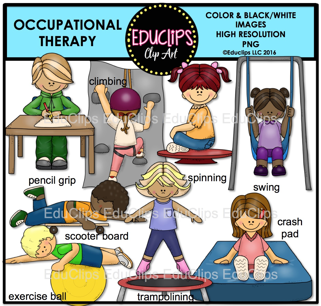 Occupational Therapy Clip Art Bundle (Color and B&W).