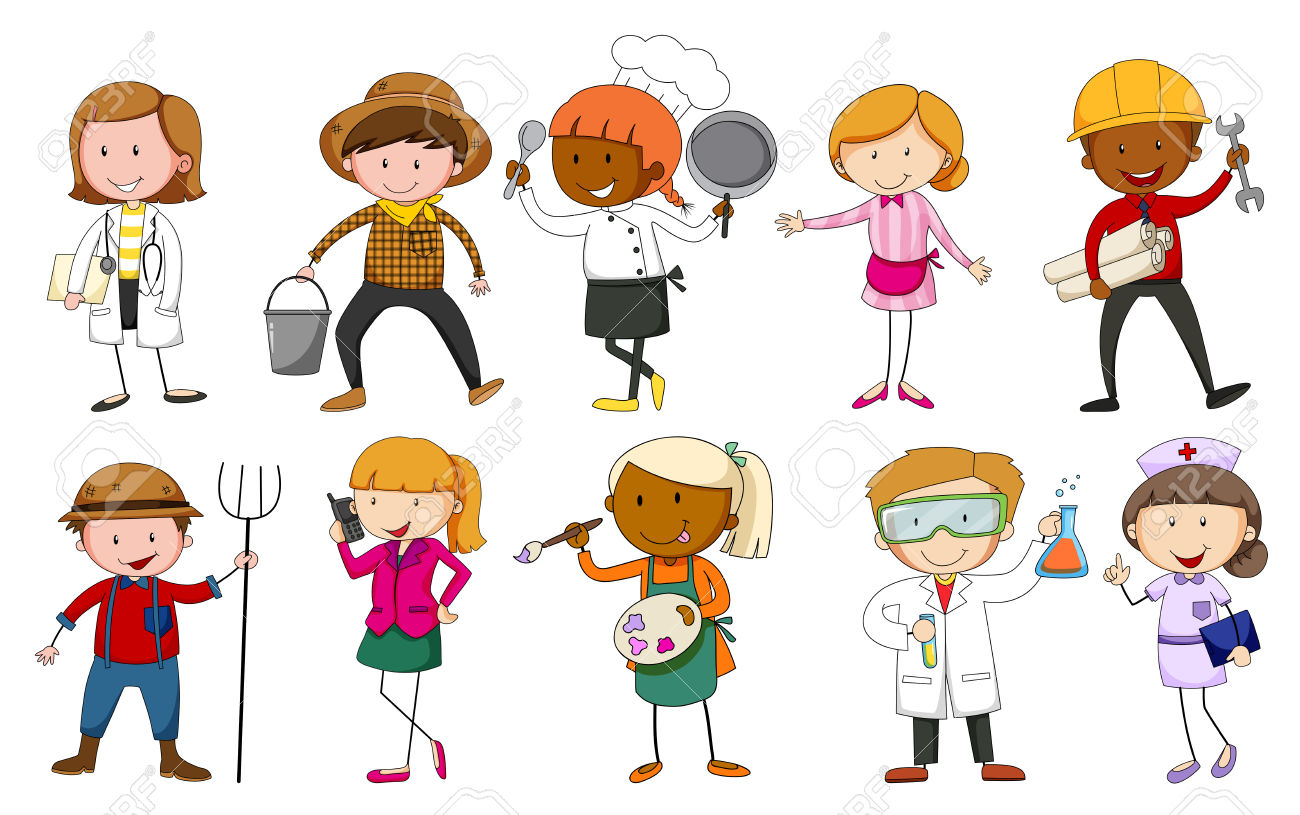 Cartoon occupations clipart.