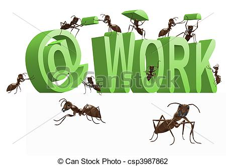 Clip Art of ant at work busy doing the job occupied.