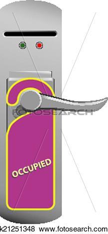 Clip Art of Warning on the door knob Occupied k21251348.