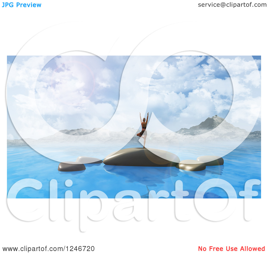 Clipart of a 3d Woman Doing Yoga on Rocks in the Ocean with.
