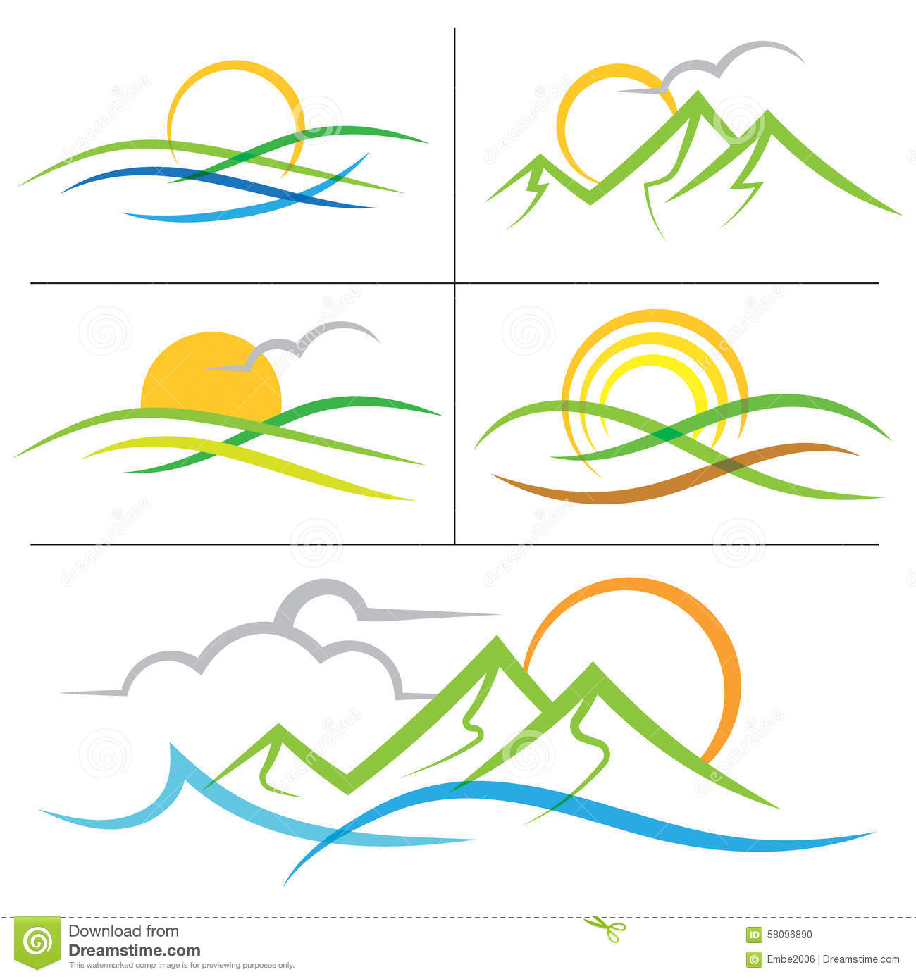 Mountain Sunrise Logo Stock Photo.