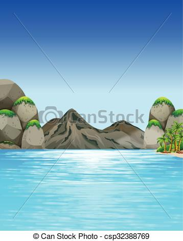 Clip Art Vector of Ocean scene with mountains and trees.