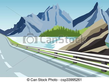 Clip Art Vector of winding road in mountains along the sea or.