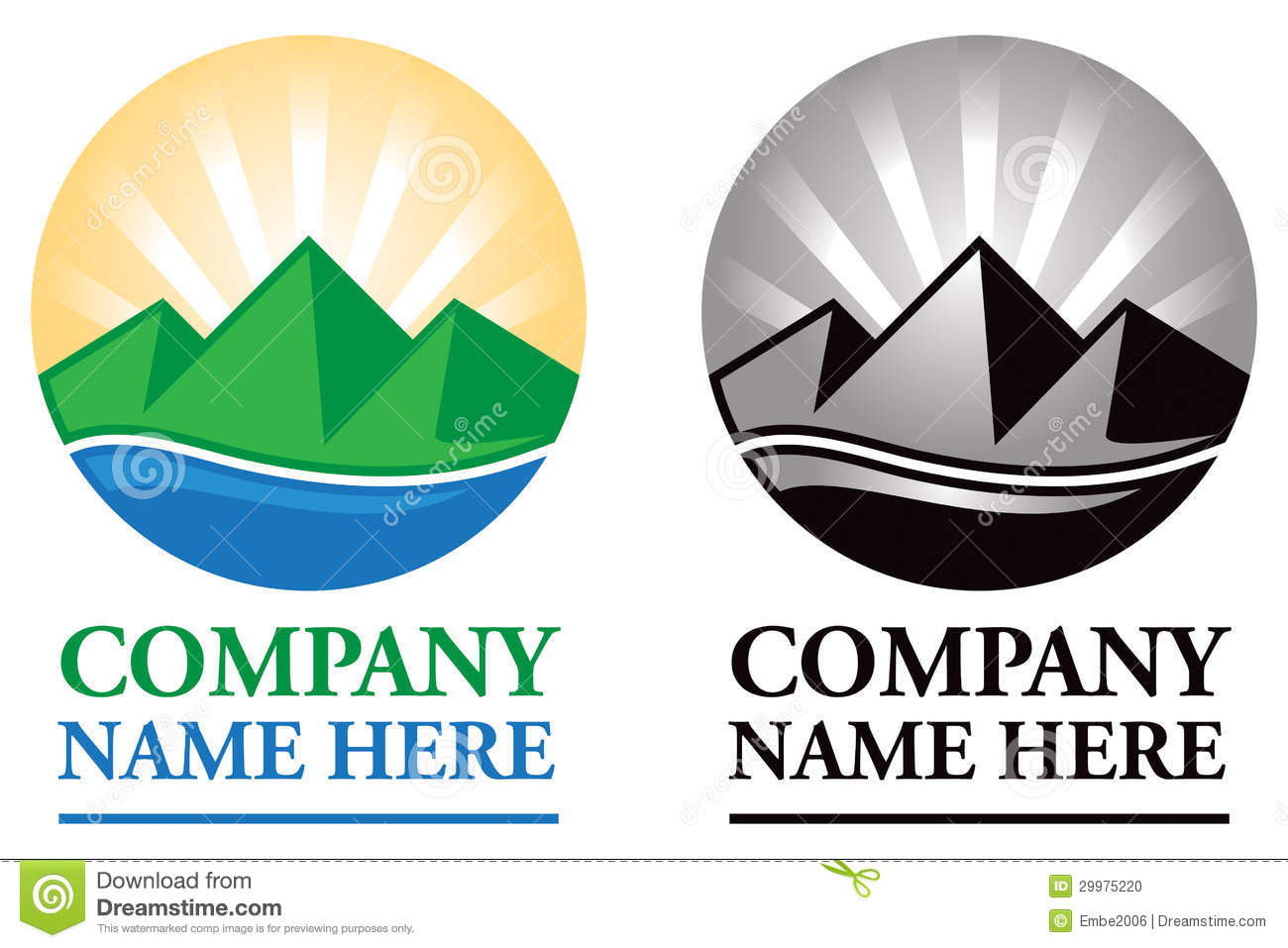 Mountain Sunrise Logo Stock Photo.