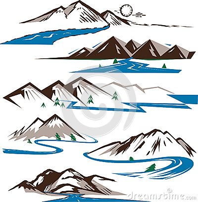 Mountains Icons Royalty Free Stock Images.