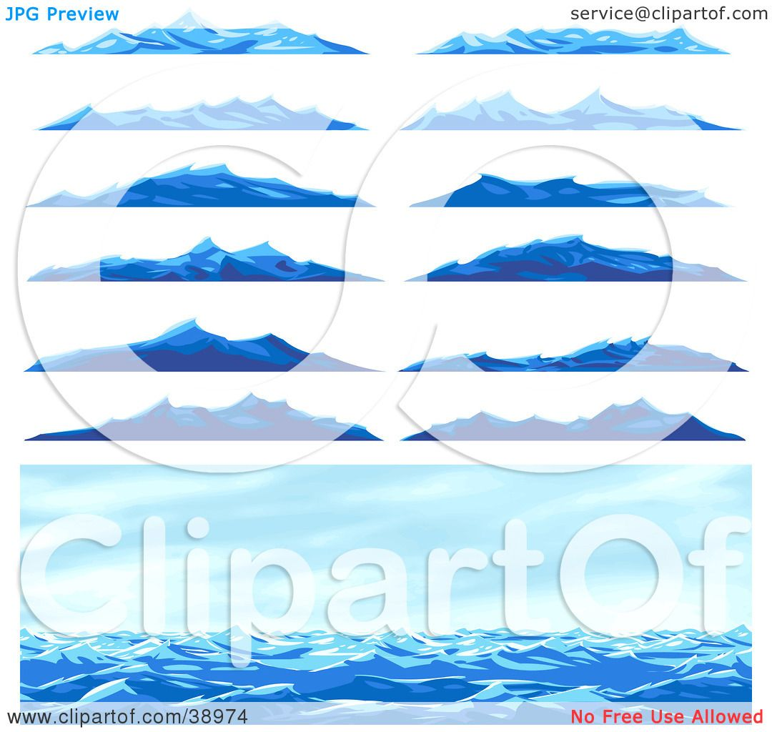 Clipart Illustration of a Seascape Scene And Twelve Different Blue.