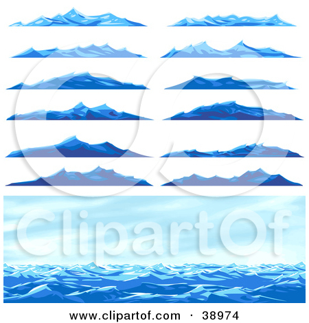 Ocean and mountains clipart #20