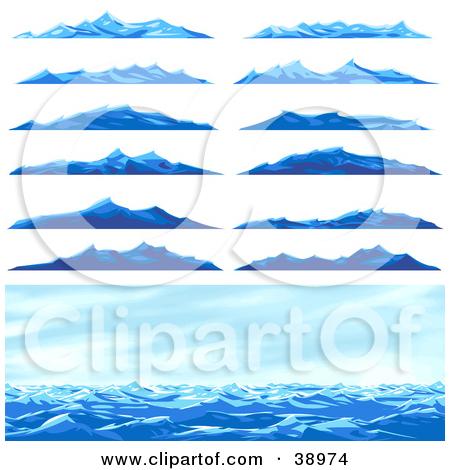 Clipart Illustration of Twelve Different Blue Ocean Waves Or.