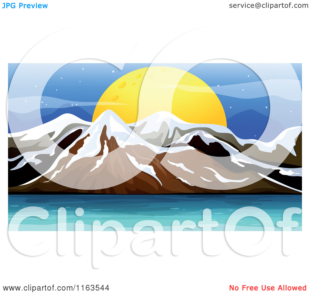 Cartoon of a Full Moon over Snow Capped Mountains and Ocean Water.