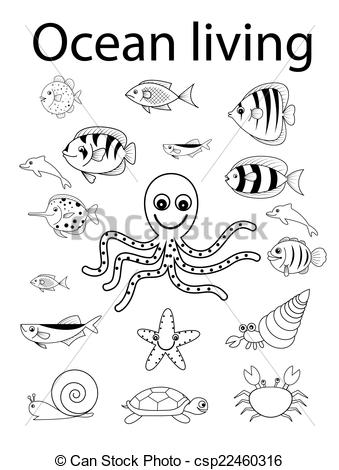 Vector Clip Art of sea and shell ocean animals.