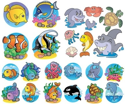 Marine background ocean animals icons colorful cartoon style Free.