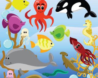 Sea creature clipart.