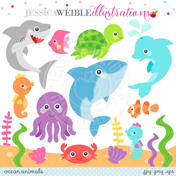 Ocean Animals Cute Clipart Ocean Animal Graphics Under the.