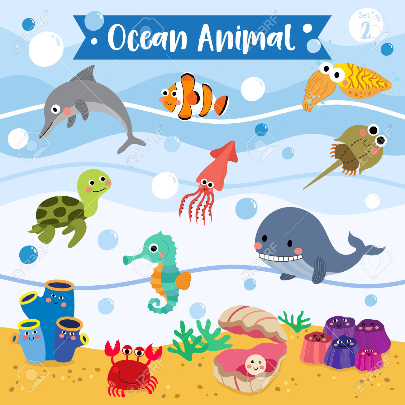 Ocean Animal Cartoon Underwater Background. Turtle. Whale. Squid.
