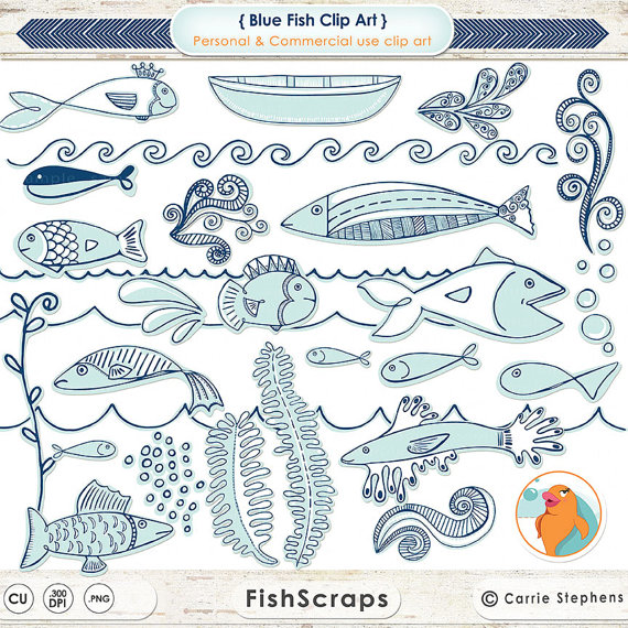 Nautical Blue Fish ClipArt, Summer Sea Life, Marine Ocean Aquarium.