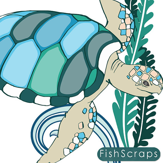 SeaHorse & Sea Turtles ClipArt Coastal Ocean Animal Clip Art.