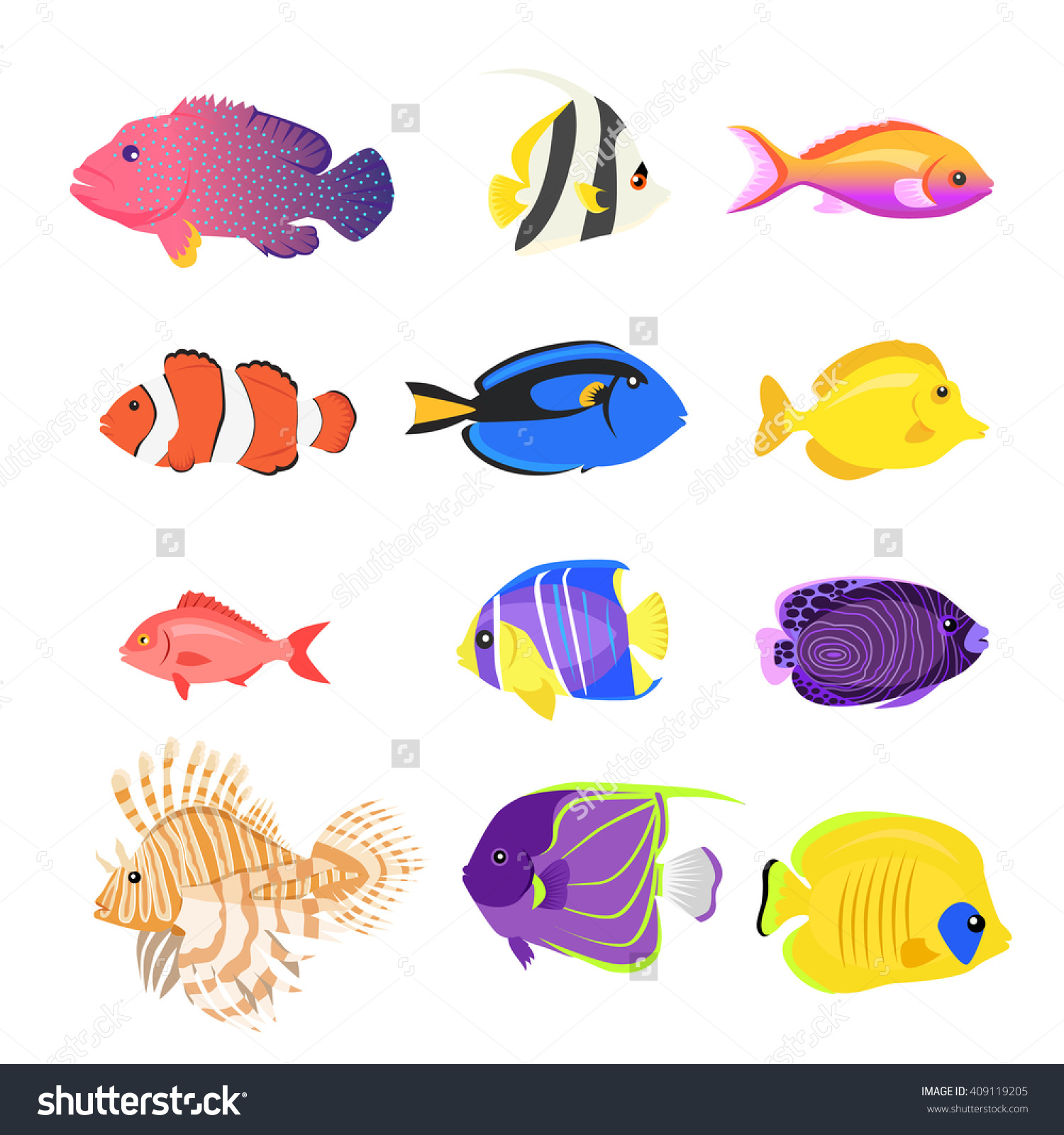 Set Sea Fish Color Design Flat Stock Vector 409119205.
