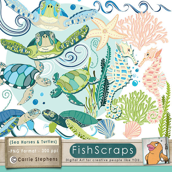 75% SALE SeaHorse & Sea Turtles ClipArt, Coastal Ocean Animal Clip.